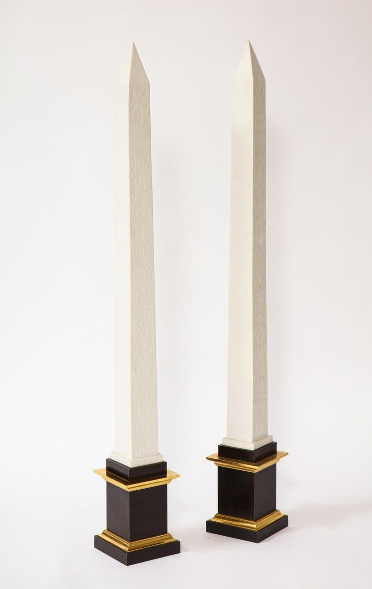 Early 20th Century Pr. Signed Sevres Porcelain, Patinated and Gilt Bronze Mounted Egyptian Obelisks For Sale