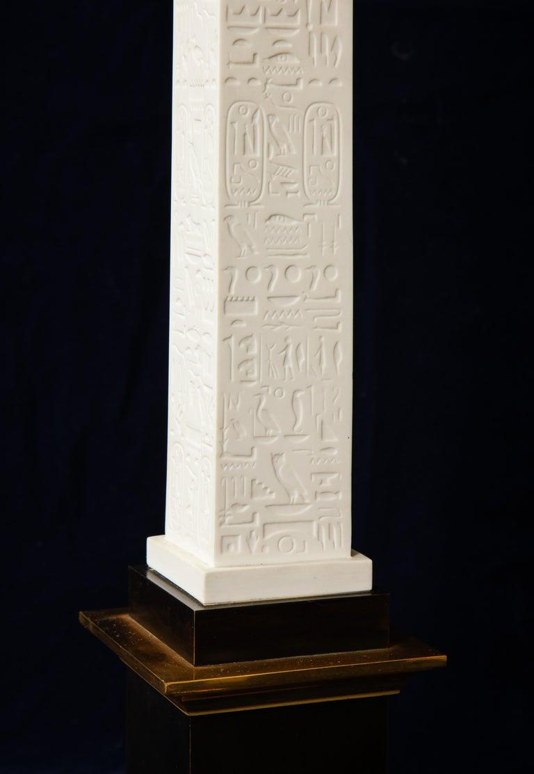 Pr. Signed Sevres Porcelain, Patinated and Gilt Bronze Mounted Egyptian Obelisks For Sale 2