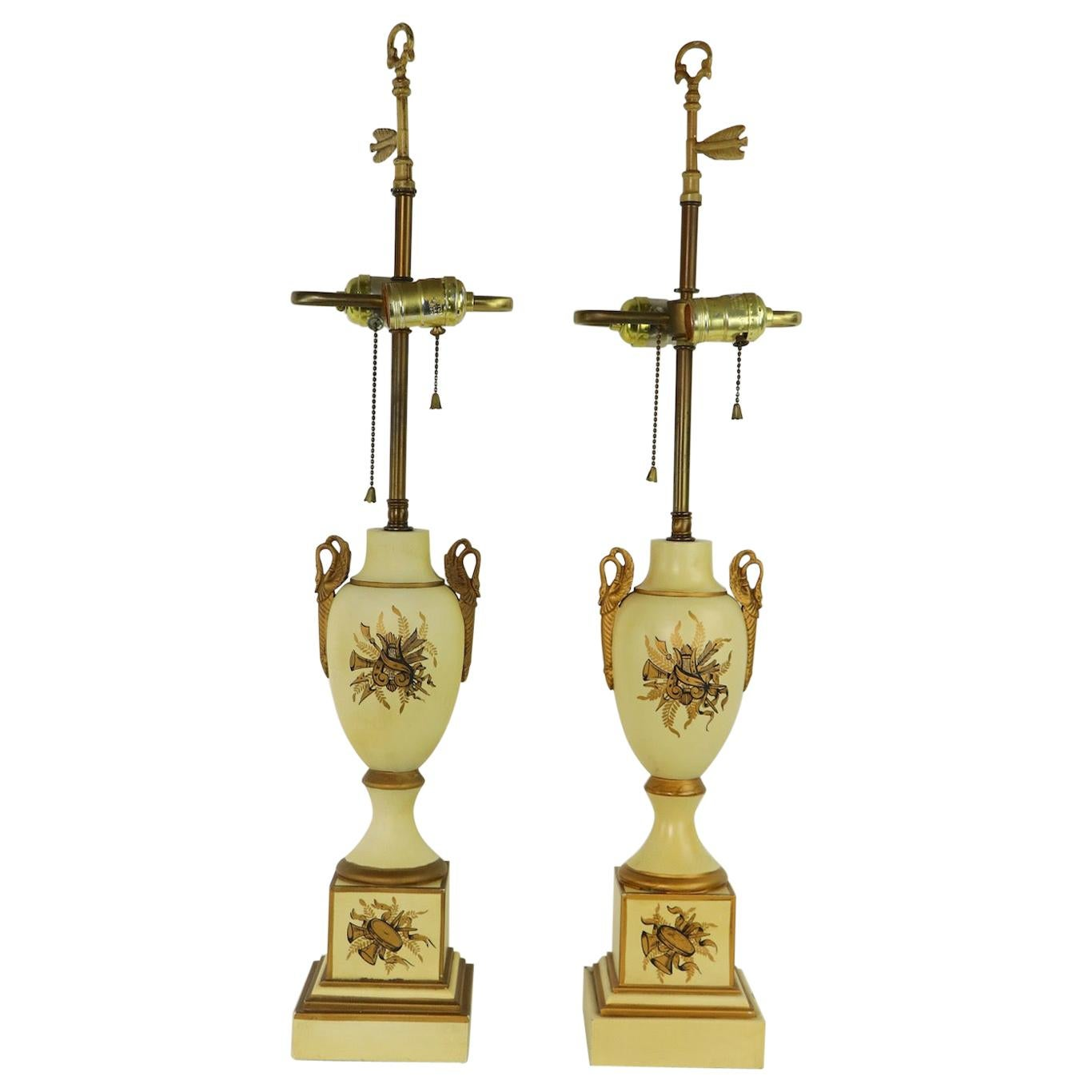 Pair of Tole Decorated French Empire Revival Table Lamps by Tyndale