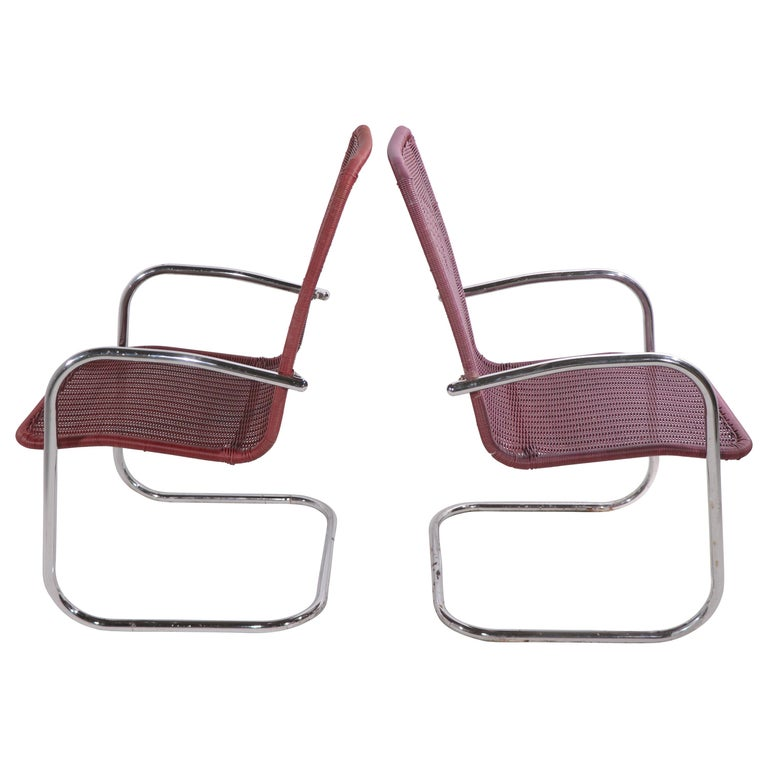 Pr. Tubular Chrome and Woven Plastic Cantilevered Lounge Chairs For Sale