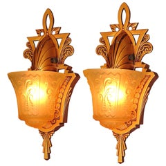 Pair of Beardslee Art Deco Slip Shade Sconces Warm Golden with Amber Shades