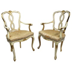 Pair of Vintage Gilt Decorated Armchairs by Florentine Furniture