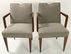 Pair of Wormley for Dunbar Dining Chairs with Brass Handles