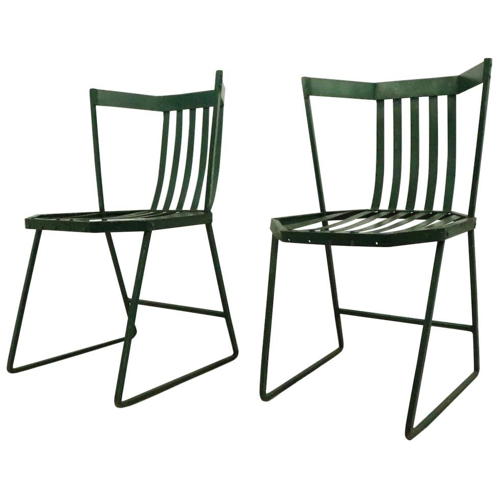 Pair of Wrought Iron and Metal Strap Modernist Garden Patio Chairs