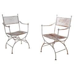 Pr. Wrought Iron Patio Garden Chairs attributed to Salterini