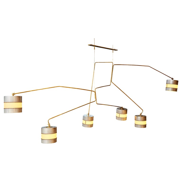 PR2 Huge Chandelier by Diego Mardegan in Brass and Parchemin Paper For Sale