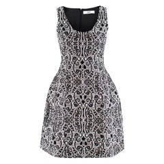 Prabal Gurung Black & White Silk Embroidered Dress SIZE 2