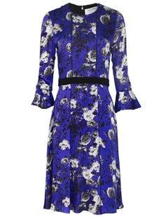 Prabal Gurung Blue Silk Floral Dress Sz 6