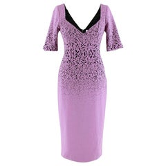 Prabal Gurung Lilac Speckled Fitted Midi Dress US4