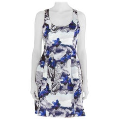 Prabal Gurung Purple Rorschach Floral Print Satin Sleeveless Fit and Flare Dress