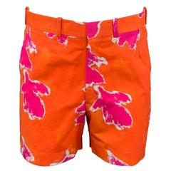 PRABAL GURUNG Size 32 Orange & Fuchsia Abstract Cotton / Polyamide Shorts