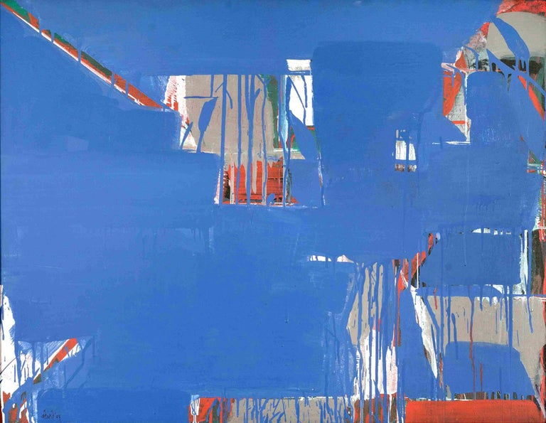 Prabhakar Kolte Abstract Painting Blue Red Indian