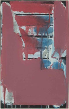 "Abstract, Red color, Paul Klee influence; by lauded Prabhakar Kolte ""In Stock"""