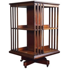Practical Size Antique Late 19th Century Mahogany Revolving Bookcase on Wheels