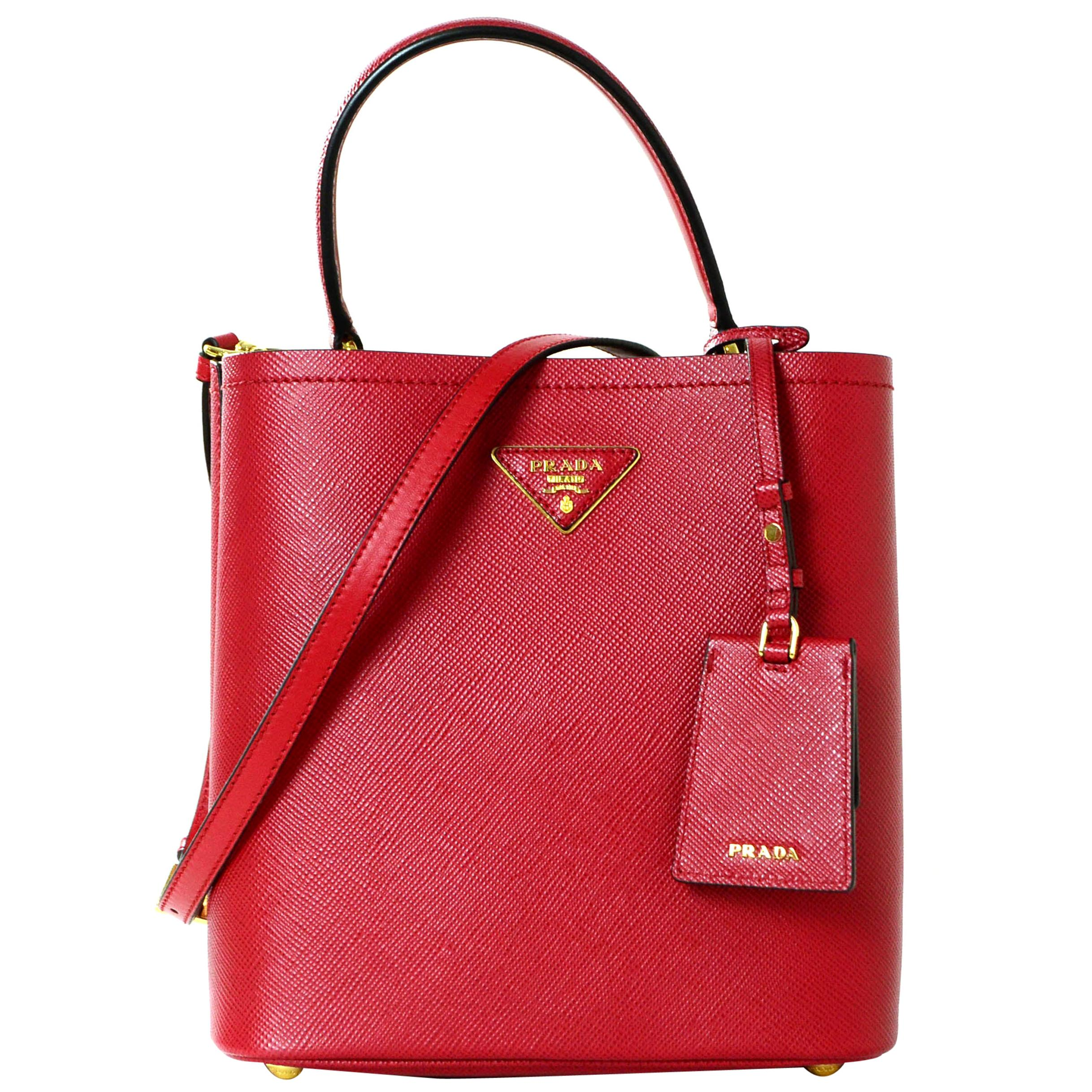 Prada 1BA212 Fuoco Red/Nero Black Medium Saffiano Leather Bucket Bag rt. $2,550