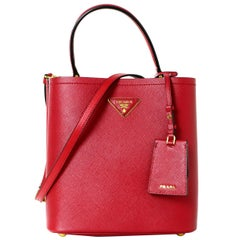 Prada 1BA212 Fuoco Red/Nero Black Medium Saffiano Leather Panier Bag rt. $2,550