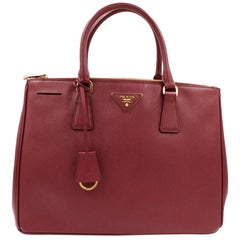 e58083bfed2d Prada 1BA274 Galleria Cherry Saffiano Leather Women's Convertible Tote Bag