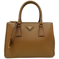 98546223bf7f Prada 1BA786 F0401 Saffiano Lux Womens Double Zip Tote Bag Cannella Brown  Bag