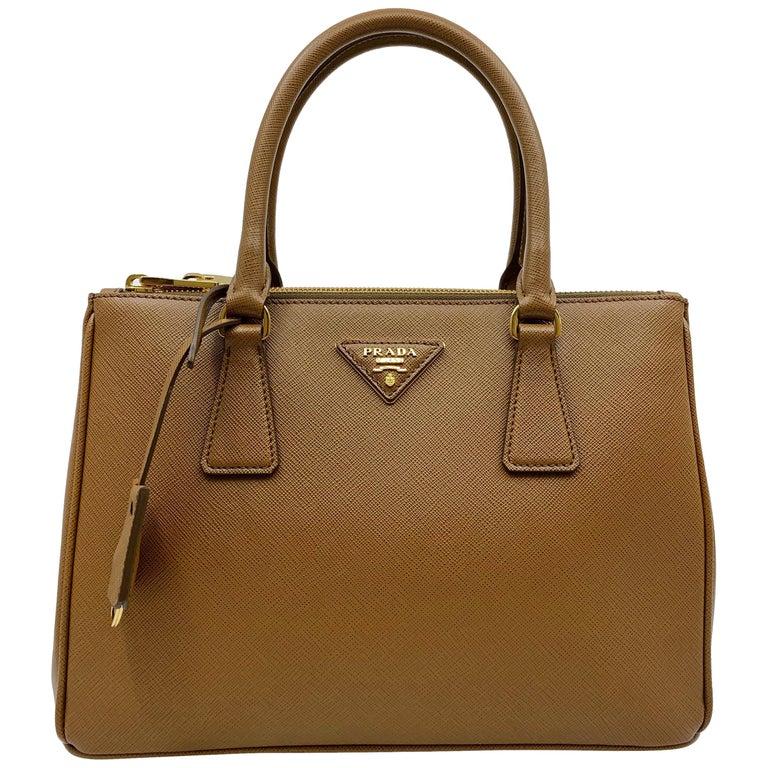 6db9bb818cb1 Prada 1BA786 F0401 Saffiano Lux Womens Double Zip Tote Bag Cannella Brown  Bag For Sale