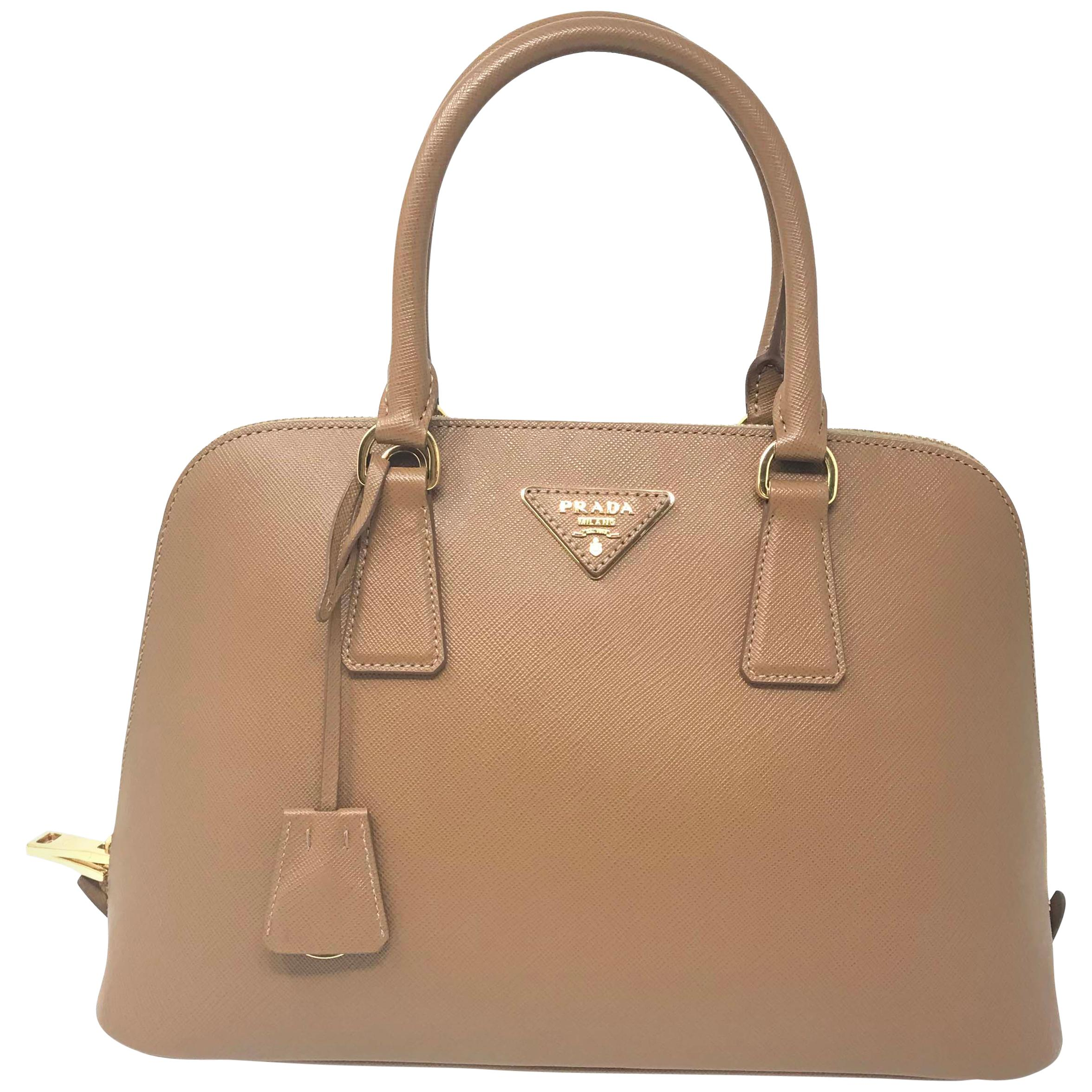 Prada 1BA837 Saffiano Leather Caramel Promenade Ladies Top-handle Bag