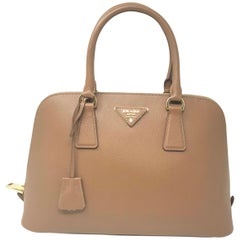 Prada 1BA837 Saffiano Leather Caramel Promenade Ladies Top-handle Bag