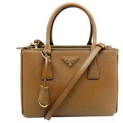 Prada 1BA863 F0401 Saffiano Lux Womens Double Zip Tote Bag Cannella Brown Bag