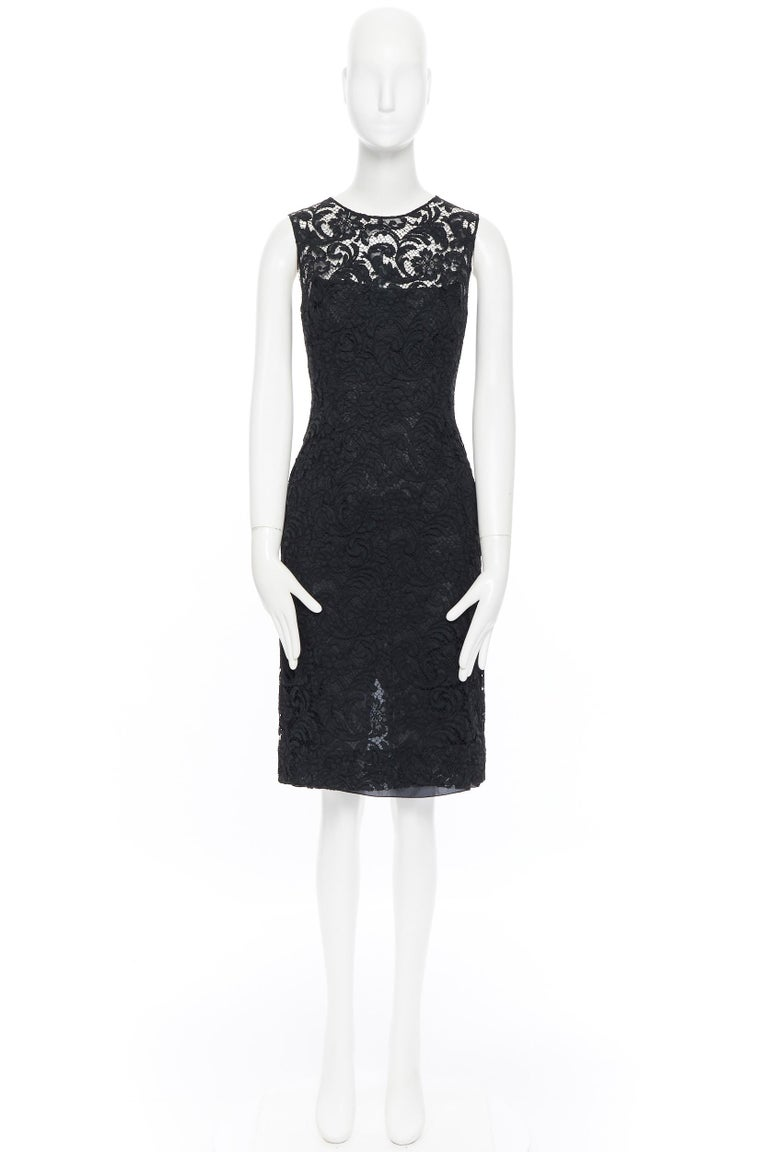 Black PRADA 2008 black floral lace lined sleeveless cocktail dress IT38 For Sale