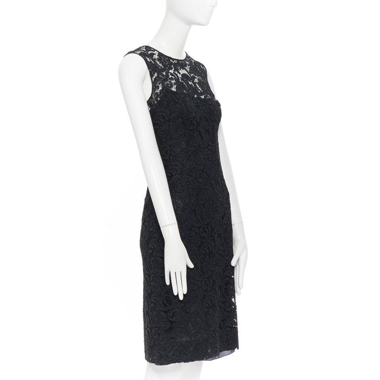 PRADA 2008 black floral lace lined sleeveless cocktail dress IT38 In Excellent Condition For Sale In Hong Kong, NT