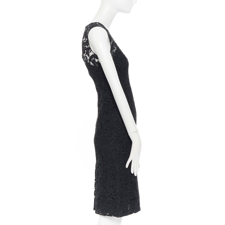 Women's PRADA 2008 black floral lace lined sleeveless cocktail dress IT38 For Sale