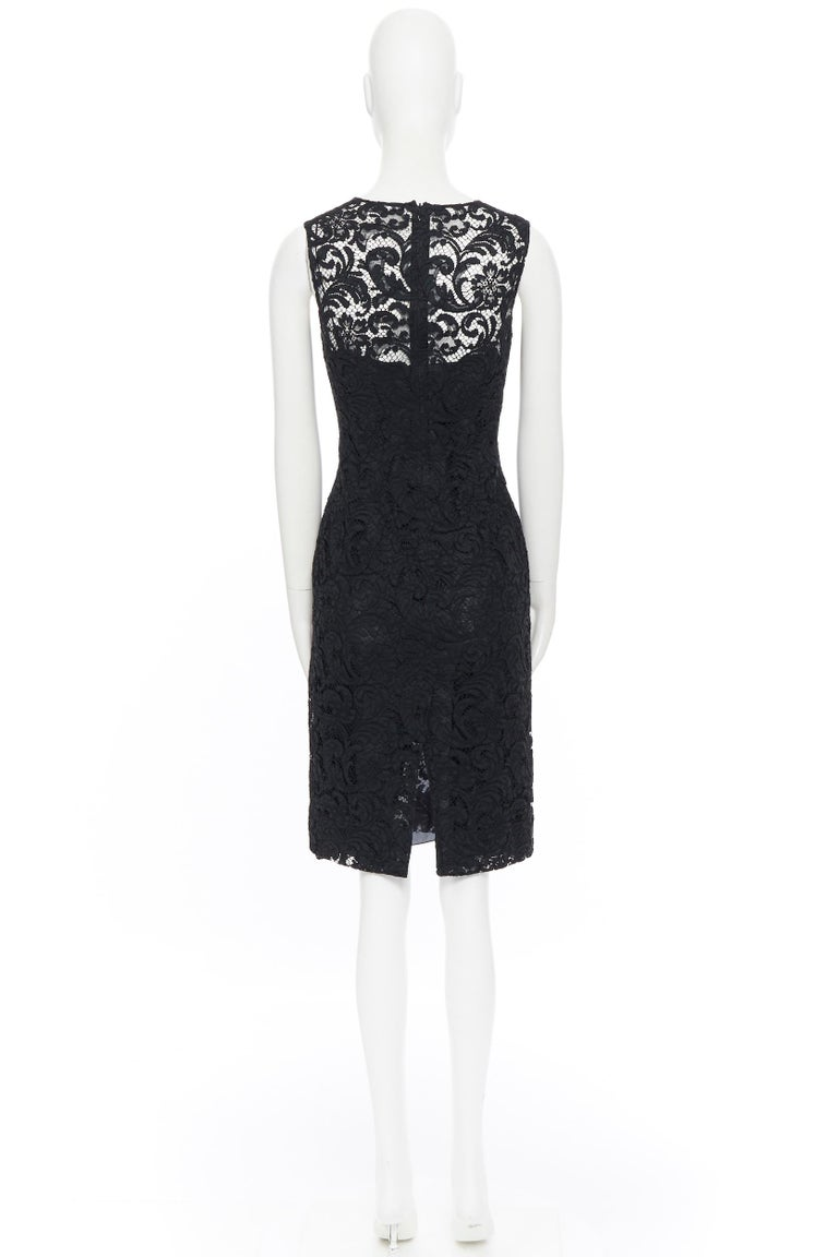 PRADA 2008 black floral lace lined sleeveless cocktail dress IT38 For Sale 1