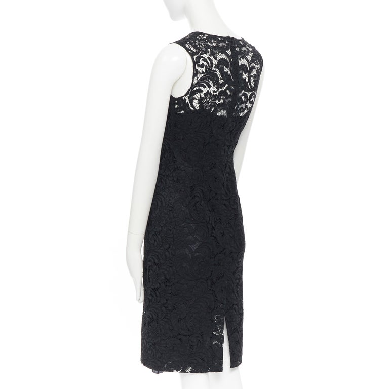 PRADA 2008 black floral lace lined sleeveless cocktail dress IT38 For Sale 3