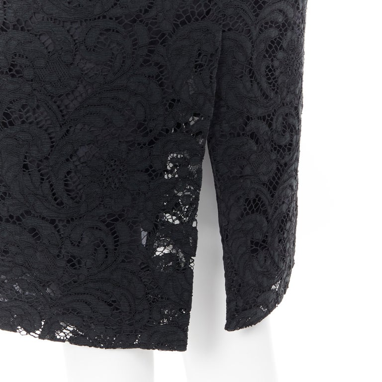 PRADA 2008 black floral lace lined sleeveless cocktail dress IT38 For Sale 4
