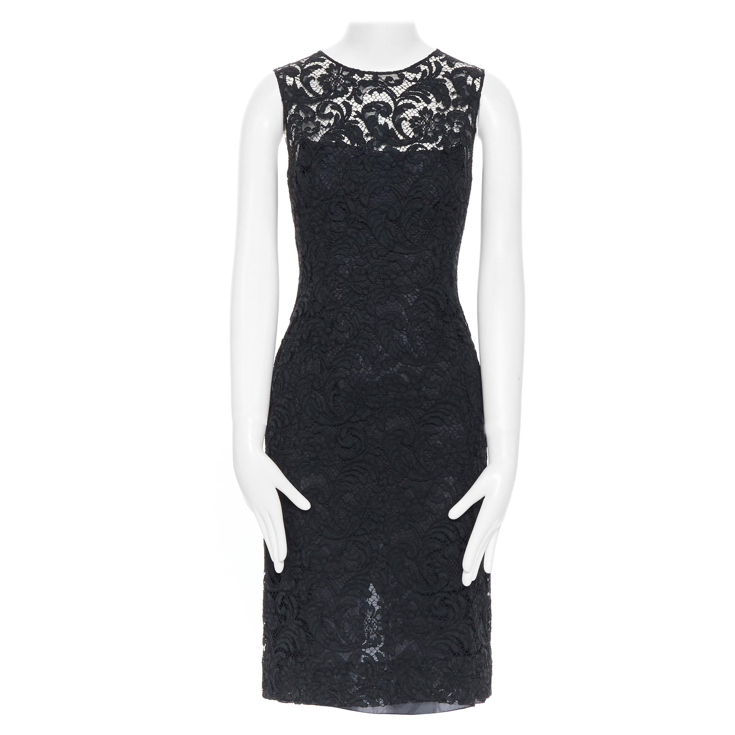 PRADA 2008 black floral lace lined sleeveless cocktail dress IT38