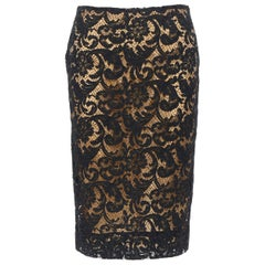 PRADA 2008 iconic black floral lace nude lined knee length pencil skirt IT38 XS
