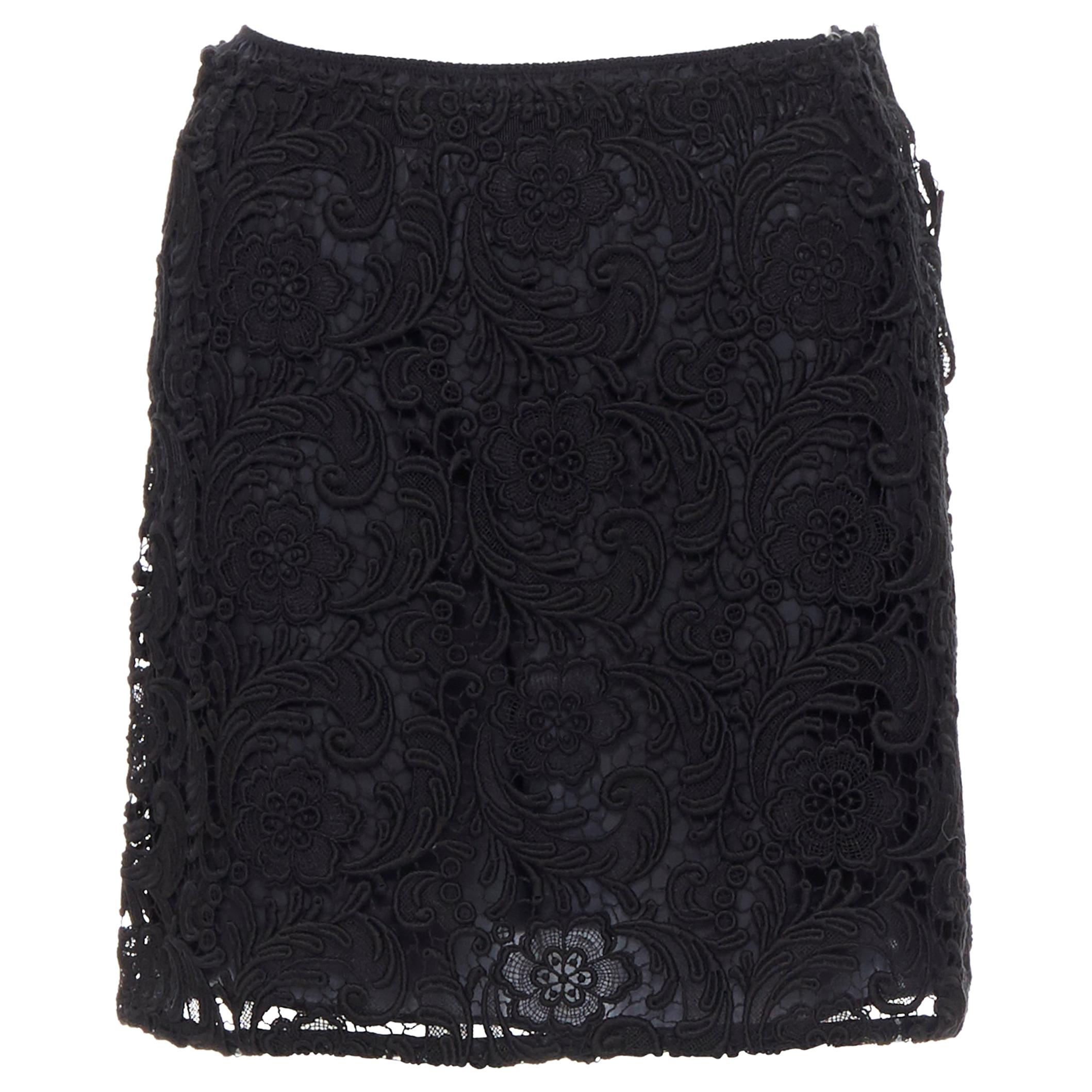 PRADA 2008 iconic floral embroidery lace black silk lined mini skirt IT38 XS