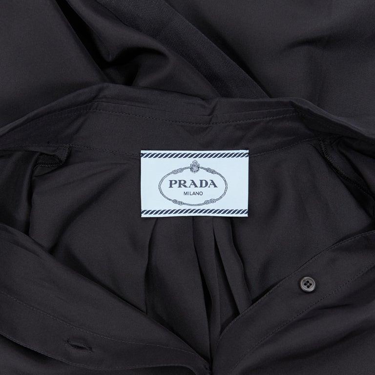 PRADA 2011 100% silk black logo tag pleated collar belted shirt dress IT38 XS 5