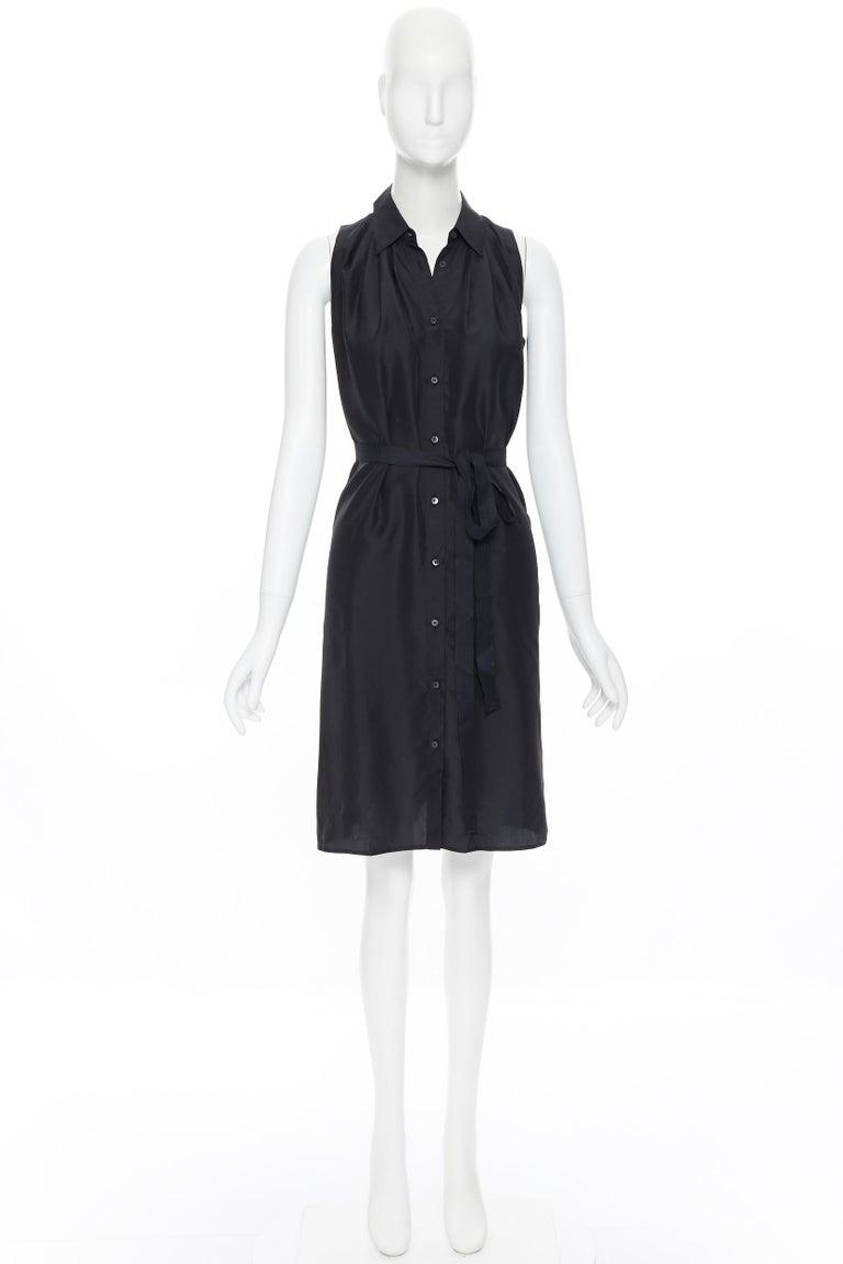 Black PRADA 2011 100% silk black logo tag pleated collar belted shirt dress IT38 XS