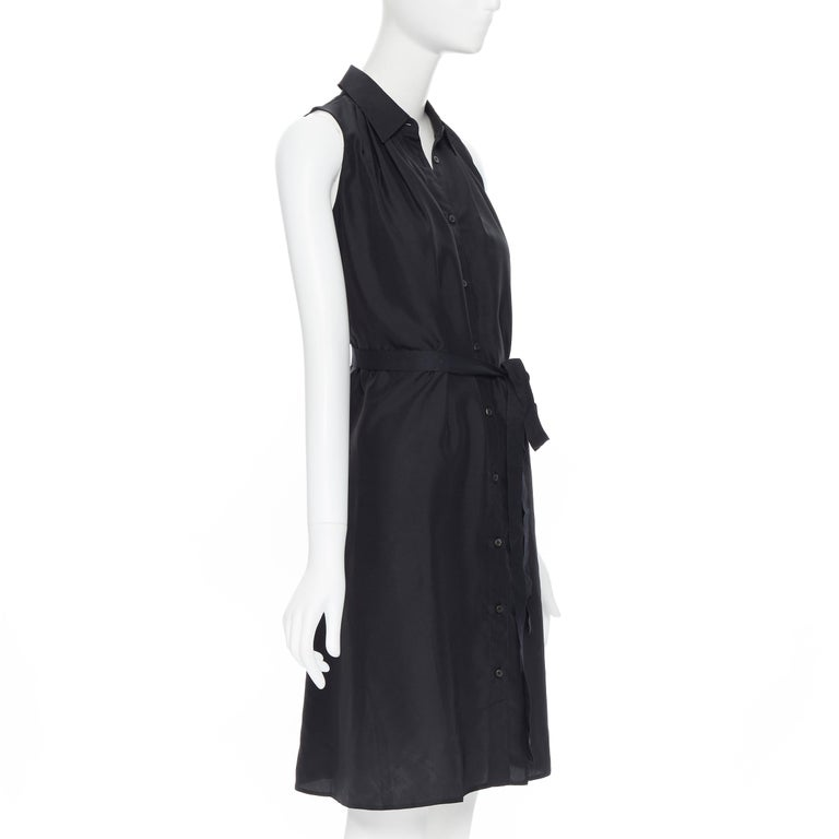 PRADA 2011 100% silk black logo tag pleated collar belted shirt dress IT38 XS In Excellent Condition In Hong Kong, NT