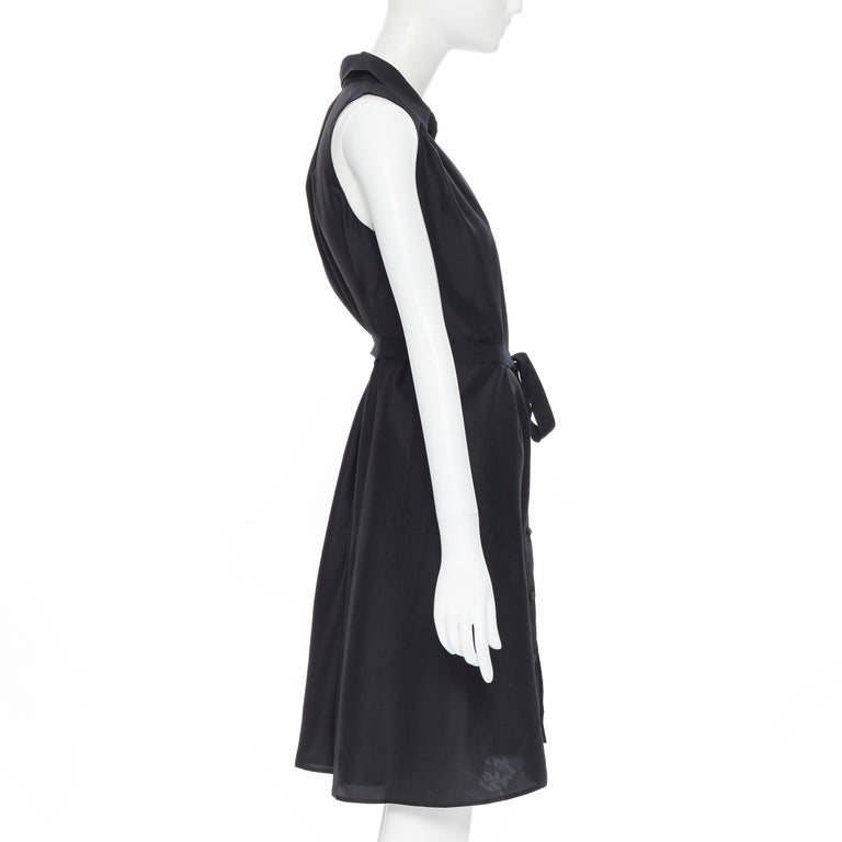 Women's PRADA 2011 100% silk black logo tag pleated collar belted shirt dress IT38 XS