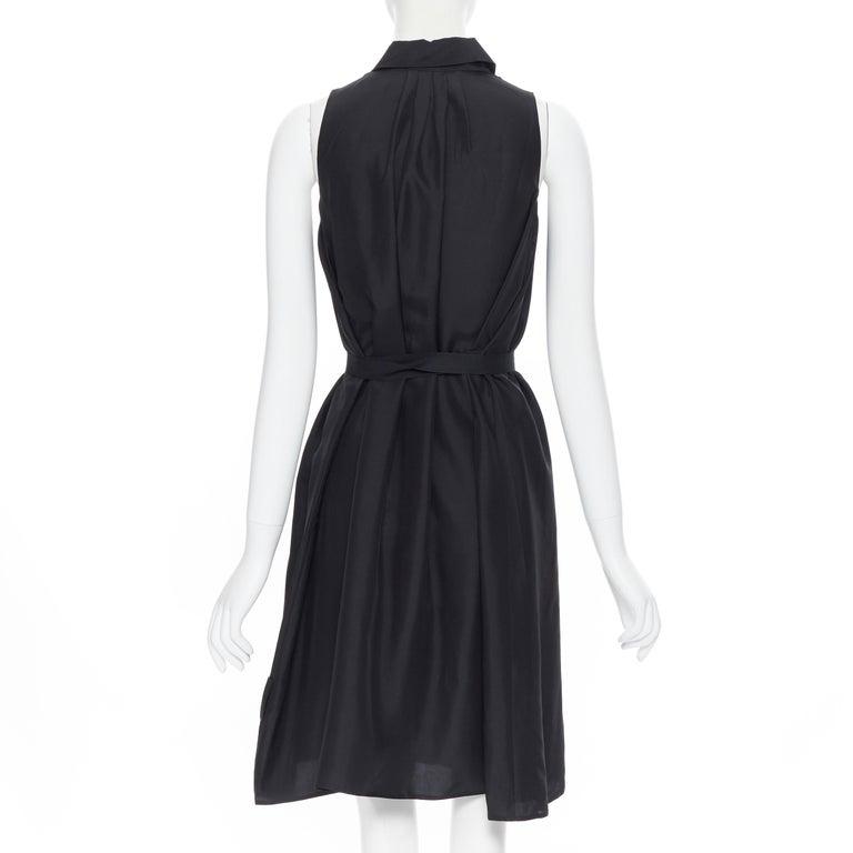 PRADA 2011 100% silk black logo tag pleated collar belted shirt dress IT38 XS 1