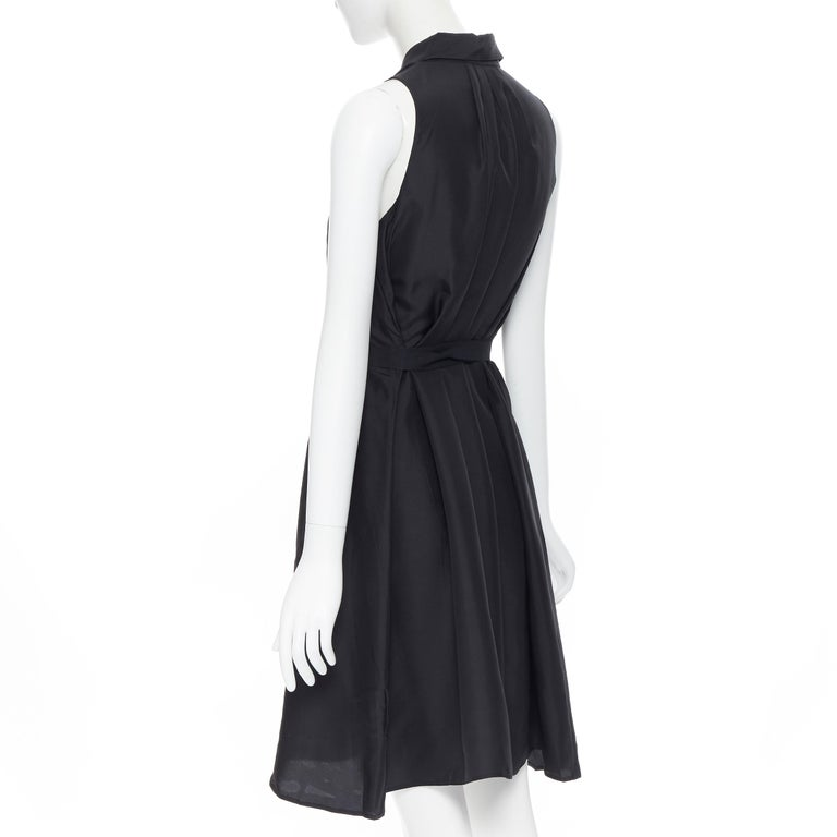 PRADA 2011 100% silk black logo tag pleated collar belted shirt dress IT38 XS 2