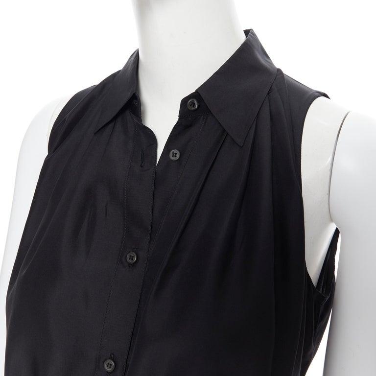 PRADA 2011 100% silk black logo tag pleated collar belted shirt dress IT38 XS 3