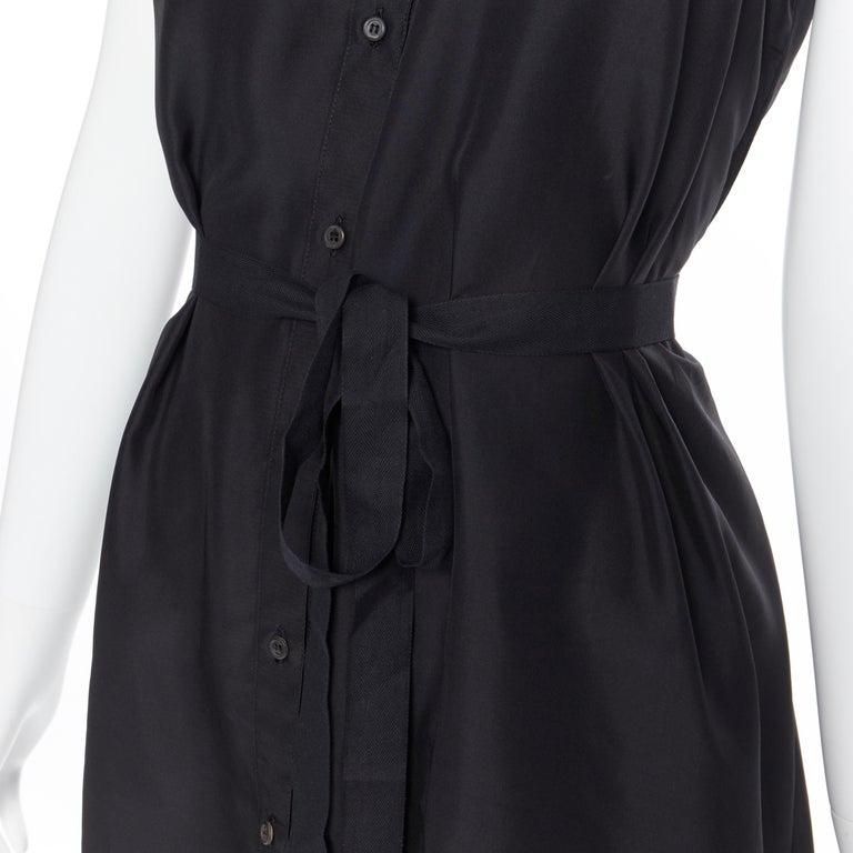 PRADA 2011 100% silk black logo tag pleated collar belted shirt dress IT38 XS 4