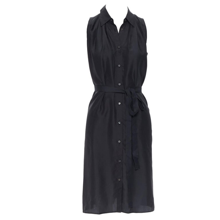 PRADA 2011 100% silk black logo tag pleated collar belted shirt dress IT38 XS