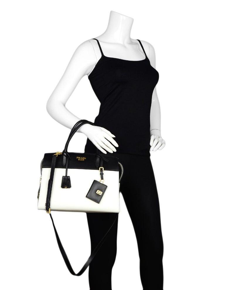 9da6203c47f9 Gray Prada 2018 White/Black Bicolor Saffiano Leather Esplanade Tote Bag w/  Strap For