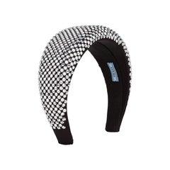 Prada 2020 Black/Silver Chunky Rhinestone Embellished Headband rt. $495