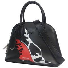 PRADA 2WAY Print hand shoulder Womens handbag 1BA200 black