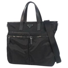 PRADA 2WAY shoulder business bag Womens tote bag Nero( black)