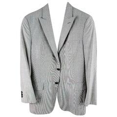 PRADA 38 Regular Black & White Houndstooth Wool Sport Coat / Jacket