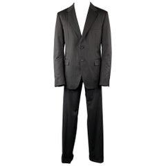 PRADA 42 Regular Black Stitched Wool 36 x 33 Suit
